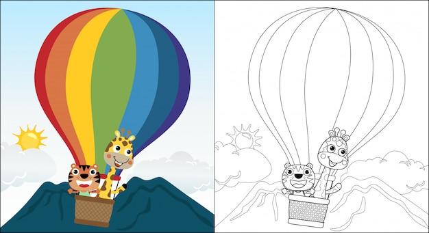 Caricatura de gato con jirafa en globo aerostático