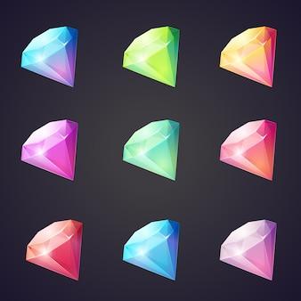 Caricatura de gemas y diamantes de diferentes colores sobre un fondo negro para juegos de computadora.