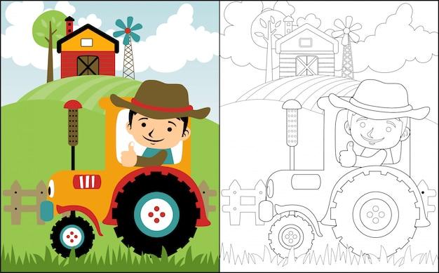 Caricatura de granjero en tractor amarillo