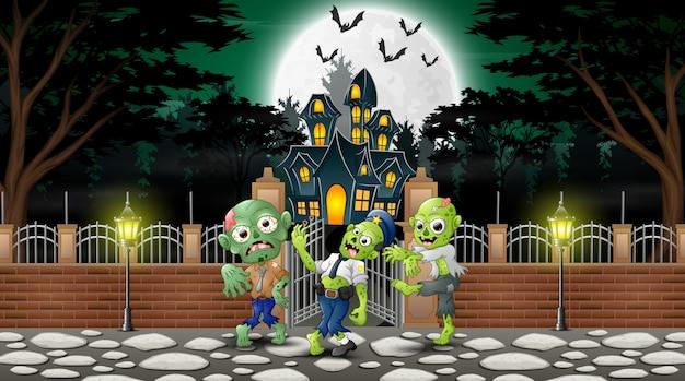 Caricatura de grupo zombie en el día de halloween.