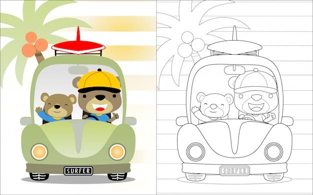 Caricatura de los hermanos del oso en el coche.