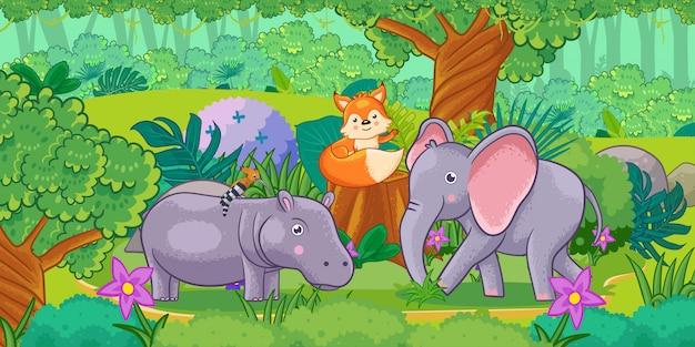 Caricatura del hermoso paisaje con diferentes animales.