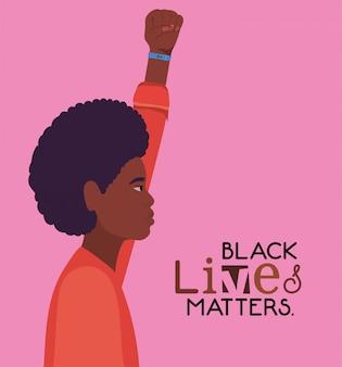 Caricatura de hombre afro negro con puño hacia arriba en vista lateral con diseño de texto de vidas negras importa de protesta por la justicia y el racismo