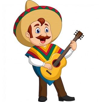 Caricatura de hombre mexicano tocando la guitarra y cantando.