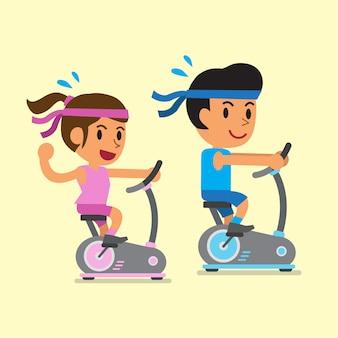 Caricatura de un hombre y una mujer montando bicicletas estáticas