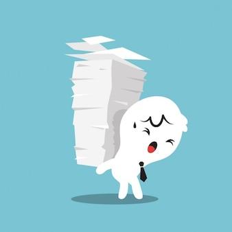 Caricatura de un hombre de negocios con un montón de papeles