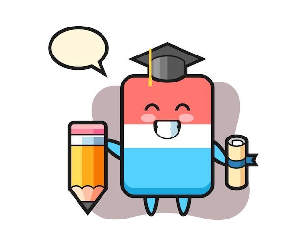 La caricatura de la ilustración del borrador es la graduación con un lápiz gigante, estilo lindo, etiqueta engomada, elemento del logotipo