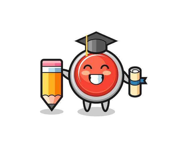 La caricatura de la ilustración del botón de pánico de emergencia es la graduación con un lápiz gigante, diseño lindo