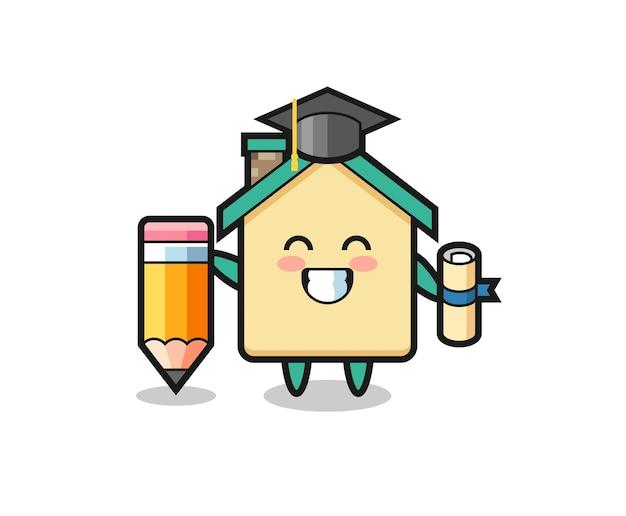 La caricatura de la ilustración de la casa es la graduación con un lápiz gigante, diseño lindo