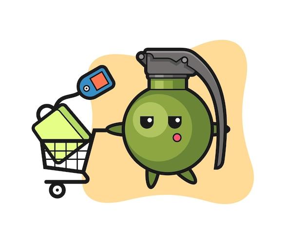 Caricatura de ilustración de granada con un carrito de compras, diseño de estilo lindo para camiseta, pegatina, elemento de logotipo