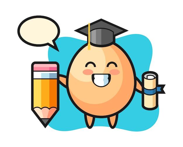 La caricatura de ilustración de huevo es la graduación con un lápiz gigante, estilo lindo para camiseta, pegatina, elemento de logotipo