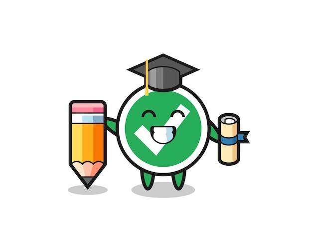 La caricatura de la ilustración de la marca de verificación es la graduación con un lápiz gigante, diseño lindo
