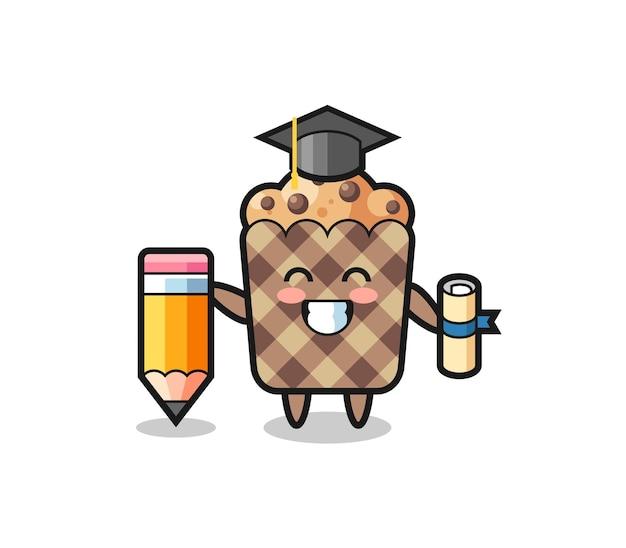 La caricatura de ilustración de muffin es la graduación con un lápiz gigante, diseño lindo