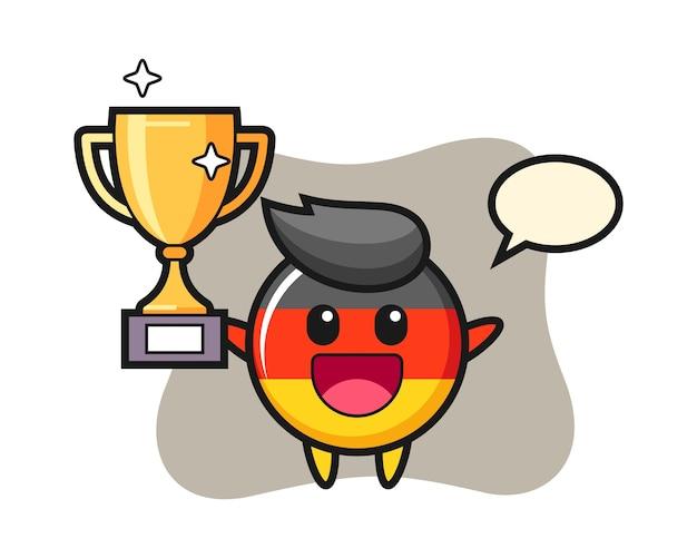 Caricatura de la insignia de la bandera de alemania es feliz sosteniendo el trofeo de oro