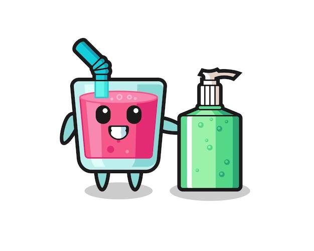 Caricatura de jugo de fresa lindo con desinfectante de manos, diseño de estilo lindo para camiseta, pegatina, elemento de logotipo