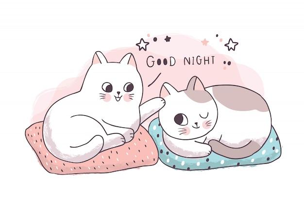 Caricatura linda amistad, los gatos dicen buenas noches