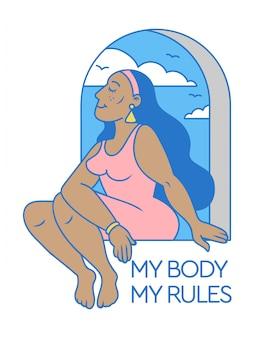 Caricatura linda y bella mujer negra sentada en la ventana con lema de positividad corporal