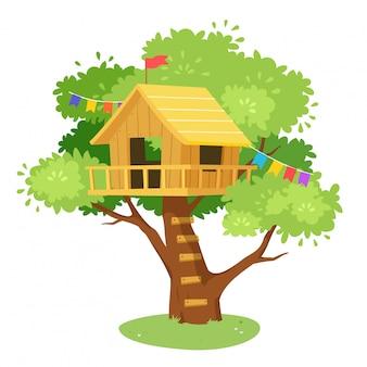 Caricatura linda casa del árbol en diseño de la selva