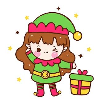 Caricatura linda chica elfo