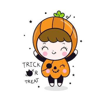 Caricatura linda chica de halloween en vestido de calabaza