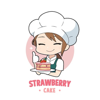 Caricatura linda de la muchacha del cocinero de la panadería que sostiene un carácter del logotipo de la mascota del pastel de fresa