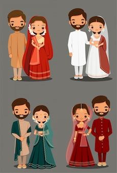 Caricatura linda pareja india en traje tradicional para el diseño de la tarjeta de invitación de boda