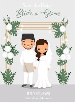 Caricatura linda pareja de malasia con arco floral tropical