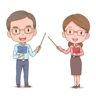 Caricatura linda pareja de profesores.