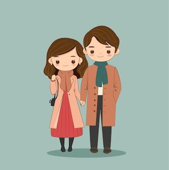 Caricatura linda pareja en traje de invierno