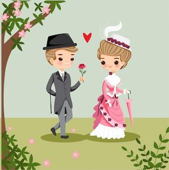 Caricatura linda pareja victoriana en el amor para el día de san valentín