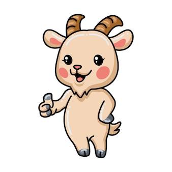 Caricatura lindo bebé cabra dando pulgar