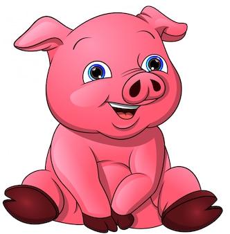Caricatura lindo bebé cerdo