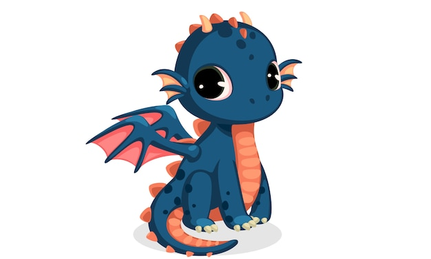 Caricatura lindo bebé dragón azul oscuro