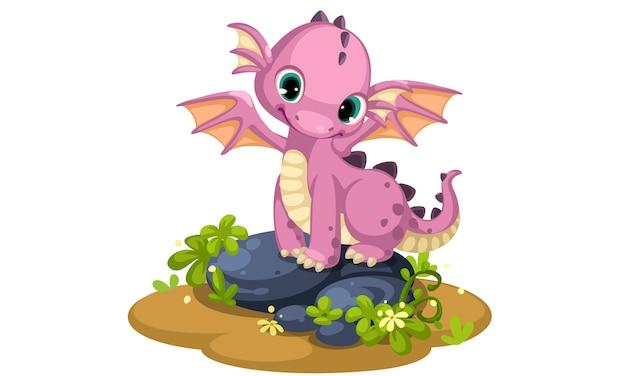 Caricatura lindo bebé dragón rosa