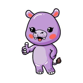Caricatura lindo bebé hipopótamo dando pulgar
