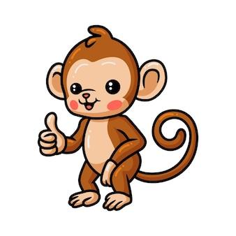 Caricatura lindo bebé mono dando pulgar