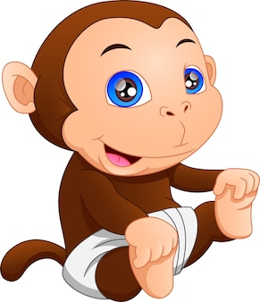 Caricatura lindo bebé mono