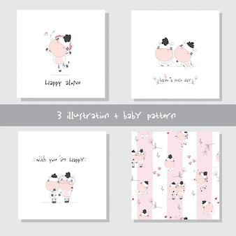 Caricatura lindo bebé vaca set de patrones sin fisuras