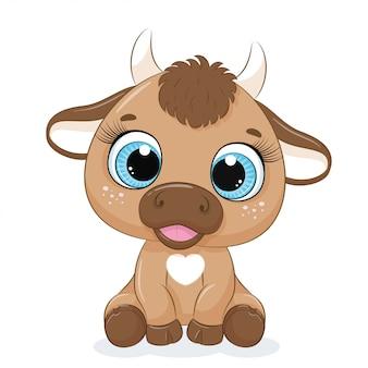 Caricatura lindo bebé vaca