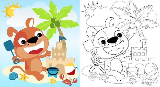 Caricatura de lindo cachorro construir un castillo de arena en la playa en vacaciones de verano