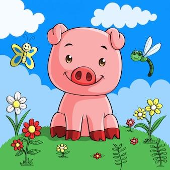 Caricatura lindo cerdo, dibujado a mano