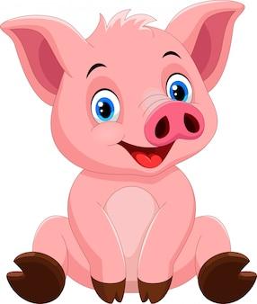 Caricatura lindo cerdo