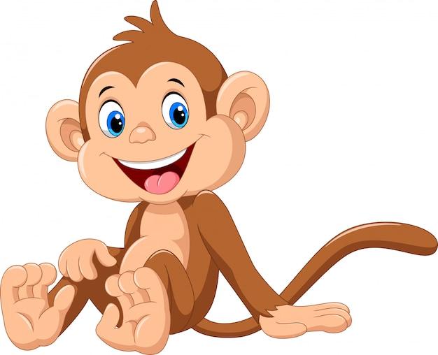 Caricatura lindo mono
