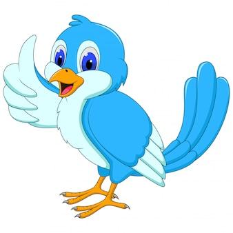 Caricatura lindo pájaro azul dando un pulgar hacia arriba