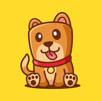 Caricatura, lindo, perro, sentarse