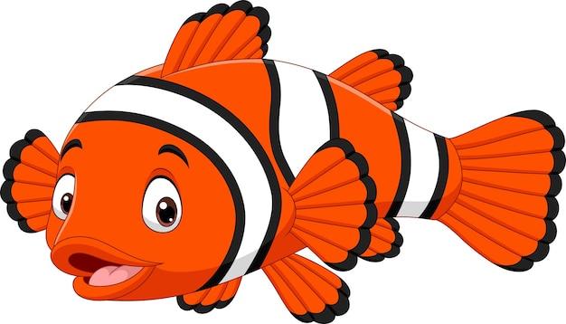 Caricatura lindo pez payaso en blanco