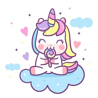 Caricatura lindo unicornio comiendo dulces