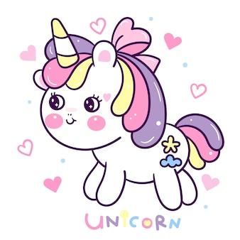Caricatura lindo unicornio con emoción feliz corazón
