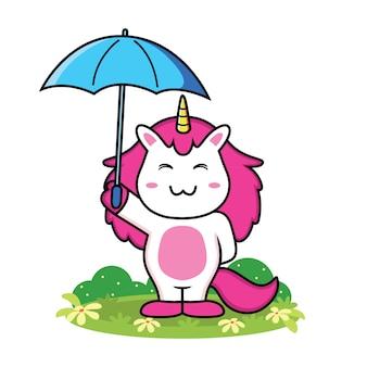 Caricatura lindo unicornio con paraguas