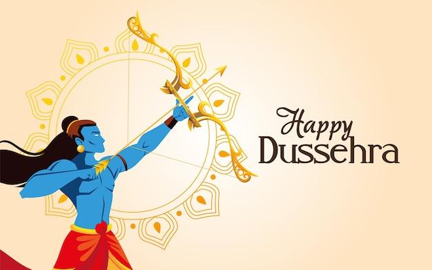 Caricatura de lord ram con arco y flecha frente a diseño de mandala, festival feliz dussehra e ilustración de tema indio